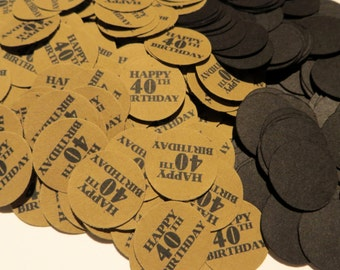 40th Birthday Party Confetti 3/4 Inch Circles - Happy 40th Birthday, Black and Kraft Brown or Your Colors