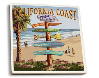 Pismo Beach, CA - Dest Sign - LP Artwork (Set of 4 Ceramic Coasters)