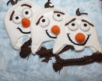 "Crochet Olaf ""Frozen"" Hat  Newborn-5Yrs MADE TO ORDER Photography Prop"