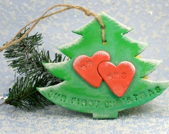 Christmas ornament Our first christmas as mr and mrs ornament. Gift for couple Personalized gift Rustic christmas tree decor Family ornament