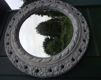 Old Vintage Gesso Plaster Round Mirror Shabby Chic Aged Cement Style