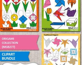 Origami paper folding clip art bundle sale, Japanese paper craft clipart, origami models illustration, digital download graphics