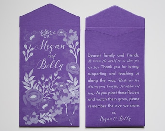 Custom Printed Seed Packet Wedding Favors - Many Colors Available