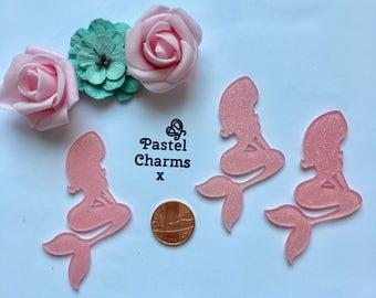 Pack of 3 resin large pink glitter mermaid ,mermaids embellishments