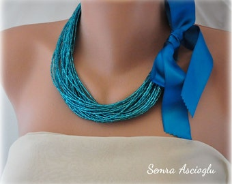 Weddings Brides Bridesmaids Teal Turquoise Multistrand Necklace