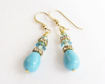 Pearl Drop Earrings, Turquoise Pearl Teardrop Earrings, Swarovski Crystal Pearl Earrings, Aquamarine Turquoise Earrings, Wedding Jewelry