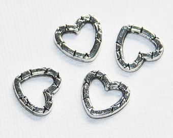 20 pcs of antique silver heart linking rings 14x13mm