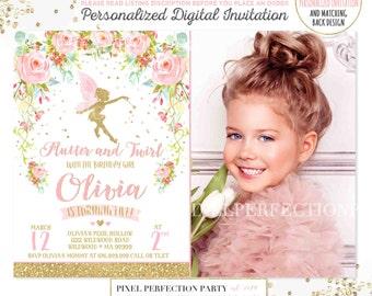 Fairy Invitation Fairy Birthday Invitation Whimsical Enchanted Pixie Invitation Magical Fairy Invite Fairy Birthday Floral Fairy Party 4Q