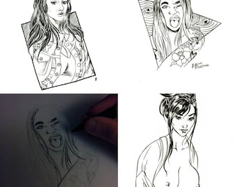 Portrait drawing Commission comic art cartoonist cosplay sketch ink hand drawn by Boo Rudetoons