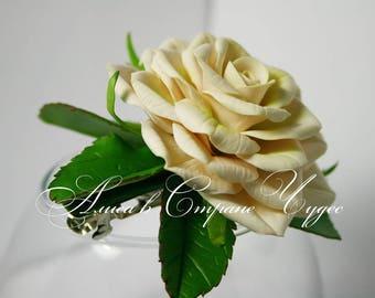 White rose a hairpin for hair Tea rose Wedding