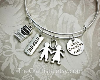 CLR2, Counselor Bangle, School Counselor Gift, Counselor Bracelet, Counselor Jewelry, Gifts for Counselor, Counselor Pendants, Counselor