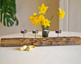 Treibholz Teelichthalter mit hochwertigen Metallkerzentüllen, Kerzenständer natur