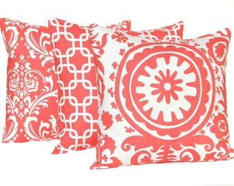 Coral Pillow Covers - Set of Three - Decorative Pillow Covers - Bed Pillows - Coral Pillow Shams - Coral Damask Pillow - Coral Chain Link