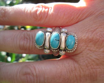 Turquoise and Sterling Silver Ring Size 8.25