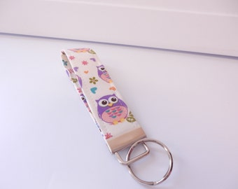 Wristlet Key Fob / Key Chain - Purple Owls