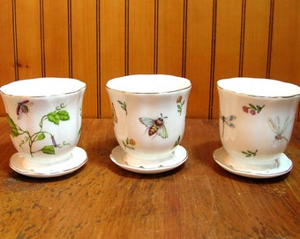 Vintage Planters with Insect Decoration Set of Three
