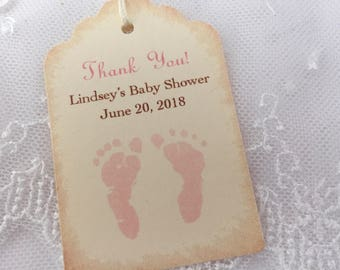Personalized Baby Shower Tags Thank You Favor Tags Pink footprints Set of 10