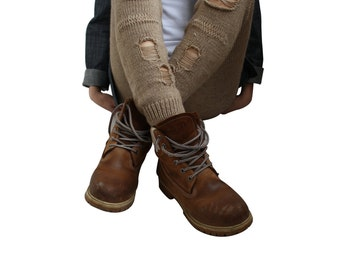 Milky Brown Knitted Stretch Tight  Pants Ripped Leggings Outdoors Gift Clothing Gift