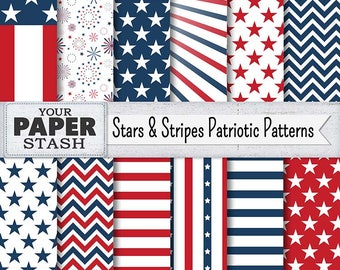 4th of July Digital Paper Pack, Stars & Stripes Backgrounds, Patriotic Scrapbook Paper, Old Glory, Flag, Red White Blue, Commercial Use
