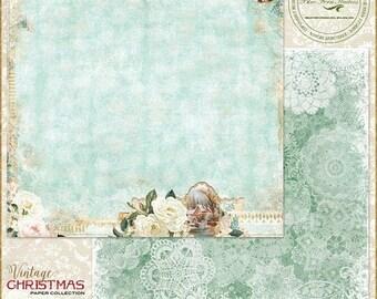 ON SALE Blue Fern Studios Vintage Christmas 1 Auld Lang Syne 12x12 Scrapbook Paper, 2 pcs