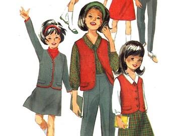 Child's Skirt Pattern 1970s Vintage Simplicity Sewing Children's Jacket Vest Blouse Slacks Uncut Girl's Size 7