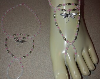 Silver, pink and white dragonfly barefoot sandal