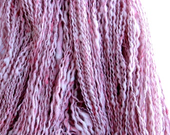 Handspun Alpaca and Tussah Silk Yarn for Knitting, Crochet, and Weaving, Pink and White, Thick and Thin, Slub Yarn, 174 yards