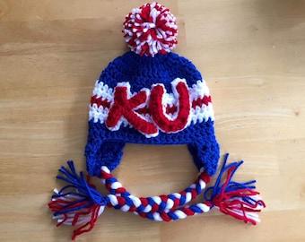 KU Hat, University of Kansas hat, KU adult hat, unisex adult, Univeristy of Kansas hat, adult sizes