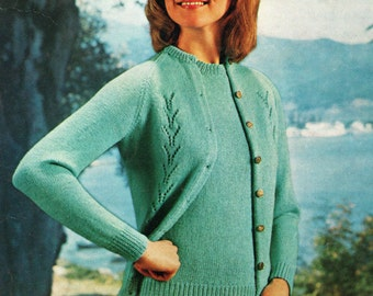 Vintage Knitting Pattern PDF Ladies Twinset Sweater and Cardigan