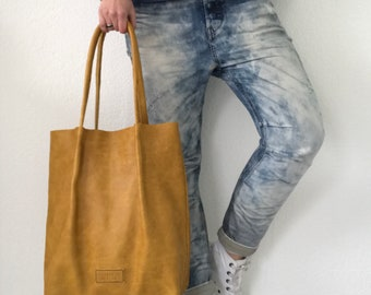 20% OFF ••• Yellow leather tote bag