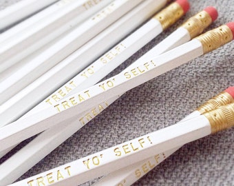 Treat Yo' Self engraved pencil 6 pack, cool stocking gifts, funny pencil, tv show quotes, pencil set, parks & rec, yankee swap, office party