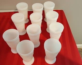 Lot of 11 - Vintage Harvest Raised Grape Design Footed Milk Glass Water Goblets/IceTea Glasses
