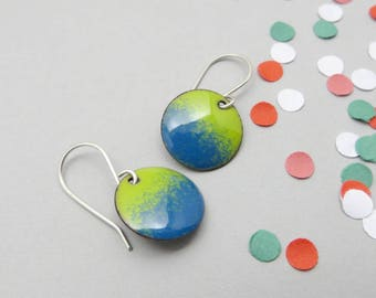 Lime Green and Blue Enamel Earrings - Lightweight Jewelry for Everyday Wear - Sterling Silver - Gift for Wife