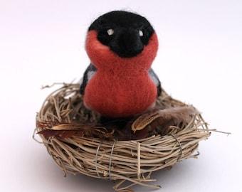 Bullfinch Needle Felted British Bird Ornament Felt Bird