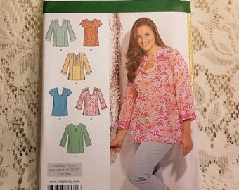 Misses Womens Tunic Top Shirt Blouse, Simplicity 1461 Sewing Pattern, Long Sleeve, Short Sleeve, Peasant Top, Plus Size, 20W-28W, UNCUT