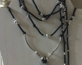 White Tear Drop Druzy Wrap Necklace