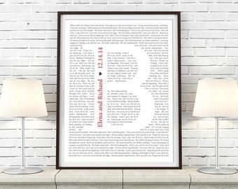 Song Lyric Monogram Art Print Keepsake - Custom Paper Anniversary Gift Idea for Valentine's Day, Anniversary, Newlywed, Husband, or Wife