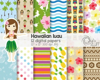 Hawaiian luau digital paper, hula, Hawaii, hawaiian flowers, luau totem