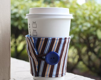 Coffee Sleeve for Men - Reusable Male Cup Cozy - Coffee Cuff - Brown, Royal Blue, and Yellow Stripes - Men's Java Jacket or Starbucks Sleeve