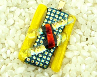 Fused Dichroic and Art Glass Pendant - Textured Patterned Yellow - Gold Plated Bail
