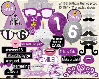 Photo Booth Props, HAPPY 16TH BIRTHDAY, party, purple, silver, sweet 16, printable sheets, instant download, selfie station