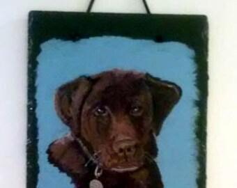 Portrait personnalisé de laboratoire chocolat sur ardoise naturelle, acrylique portrait d'animal sur ardoise, laboratoire marron, pet portrait, ardoise