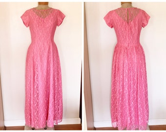 Vintage 1960s Pink Lace Short Sleeved Floor Length Formal Gown with  Size Medium