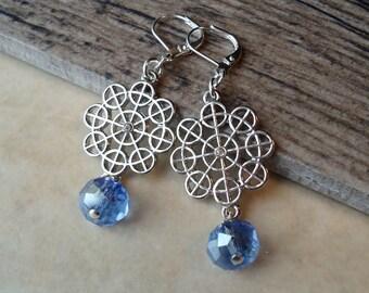 Blue Sapphire Crystal Dangle Earrings.Beadwork.Metal Earrings.Silver.Bridal.Long Earrings.Holiday.Formal.Bridesmaid.Statement.Gift.Handmade.