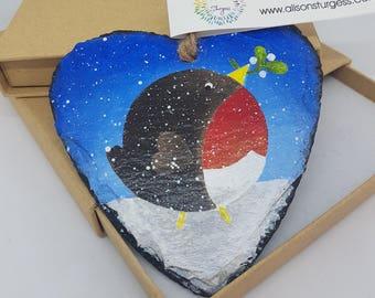 Christmas Robin - Slate Heart - Hand Painted - Christmas Ornament - Bird Decoration