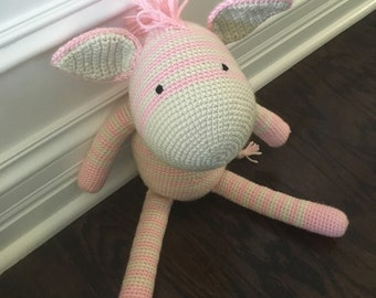 Crochet pink and white striped zebra