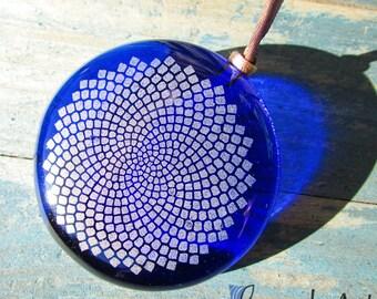 Big dark blue large round sunflower Pendant