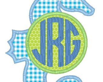 Seahorse Monogram Machine Embroidery Applique Design
