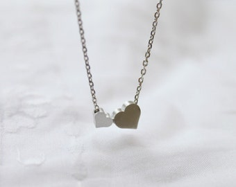Cute Two Heart charm Necklace - S2221-1
