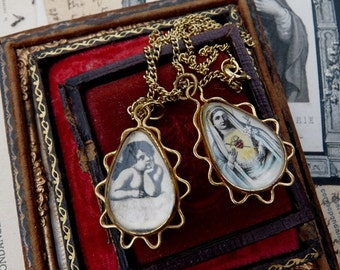 Rare Vintage Religious Virgin Mary & Cherub Medallions, offered by RusticGypsyCreations